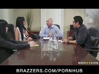 busty brunette french boss gets her itched
