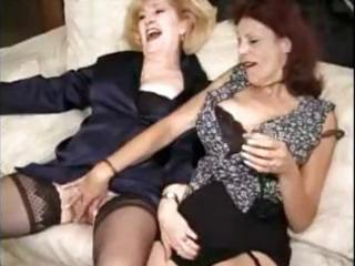 two matures in stockings have a fun a team fuck