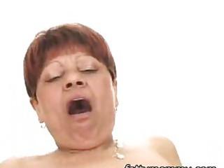 older short hair granny in black pantyhose having