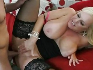 heavy chested blond momma in nylons gets nailed