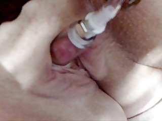 pandora pumps her clit and fucks with dog toys