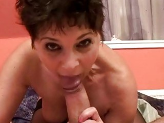 Hot granny sucking and fucking cock from pov
