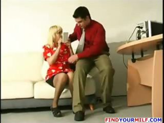 Young boss seduce mature secretary