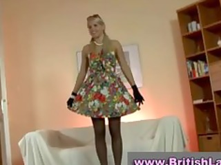 mature british lady dresses blond in stockings