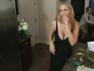 fascinating breasty blond milf teasing an guy and