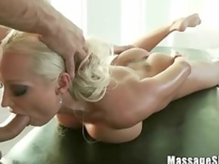 pretty golden-haired diana engulfing her masseurs