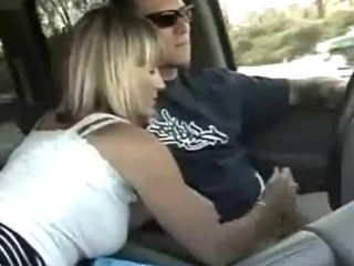 Hot blond milf car handjob