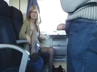 public sex in the train with breasty milf