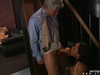 youthful dark haired sweetheart sucks mature