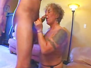 tattooed old biker playgirl acquires freaky