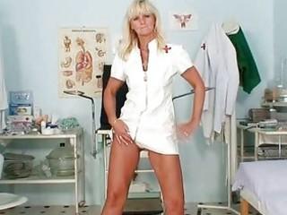 aged frantiska pussy gaping in nurse uniform at