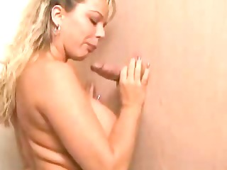 breasty golden-haired sucks a cock throughout the
