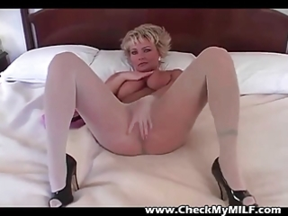 blonde milf in pantyhose rubbing cum-hole