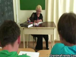 old blonde granny teacher acquires nailed by