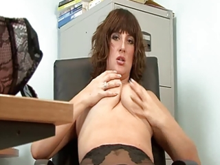 Sexy mature secretary full fashion stockings