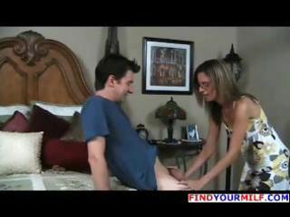 Brunette milf meets with young guy and gets