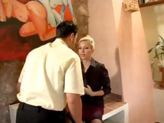horny milf boss calls the shots, in the office