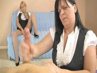milfs have a fun stroking a fine youthful cock