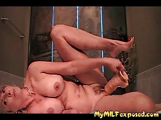 breasty non-professional milf playing with