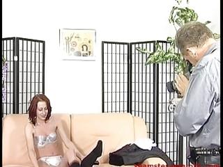 redhead milf from street into porn studio