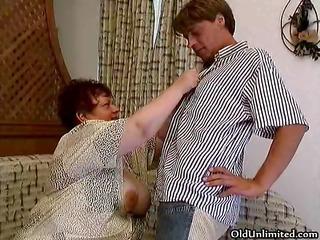 old corpulent woman engulfing hard in a boyz