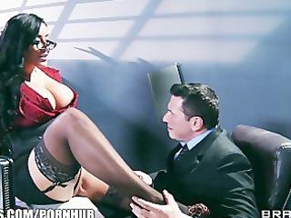 Big-tit lingerie clad assistant Kiara Mia fucks