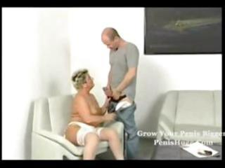 bulky blond granny getting it is on with her old