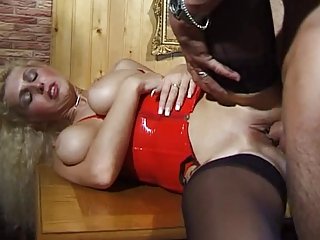 German milf with big natural tits takes it hard