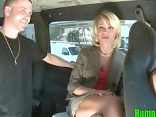 Cock Hungry Blonde Milf Sucks Dick on the HumpBus