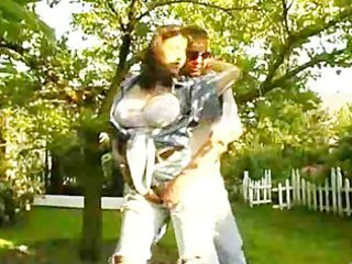 milf with large tits slams shlong in backyard