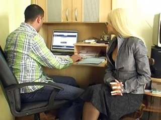 aged golden-haired secretary gives group blowjobs