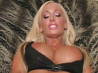 blond milf with laptop flashing pants and toying
