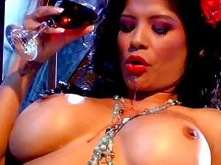 beautiful dark haired milf with giant bosom