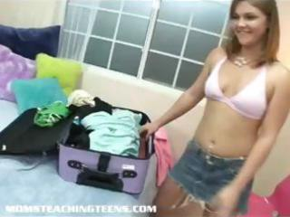 golden-haired mamma gives youthful brunette teen