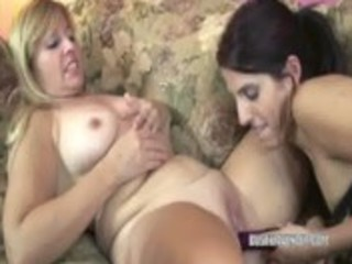 lesbian lavender shares her toys with a mature