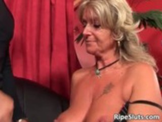 busty horny mature golden-haired acquires her
