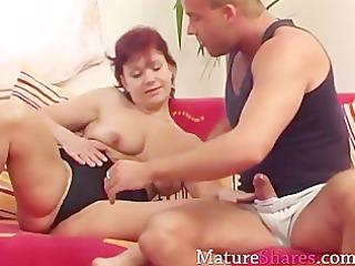nice-looking housewife enjoys hard weenie