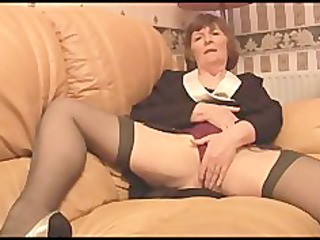 hairy granny in nylons plays with pants then