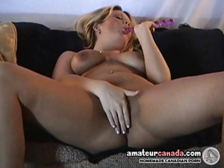 geeky blond wife self pleasures breasty vagina
