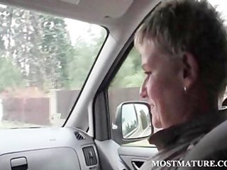 older hawt hitchhiker giving blowjob to