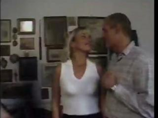 aged blond sucks cock then receives fingered and