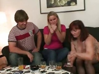 slutty brunette hair momma opens cum hungry mouth