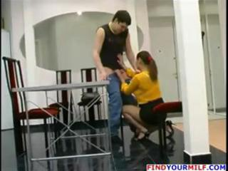 aged russian mama catches chap jerking off and