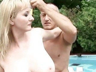 Busty grandma enjoys hot sex outdoor