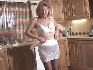 adorable granny in darksome hose toying on the