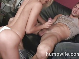 Cuckold wife sucks while husband watches her