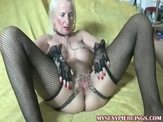 pierced granny with chains to her pierced fur pie