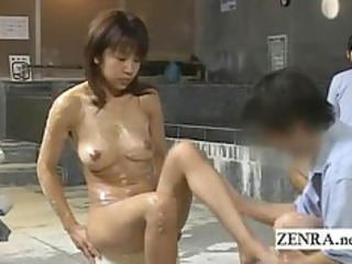 sexually excited milf client bathed at a strange