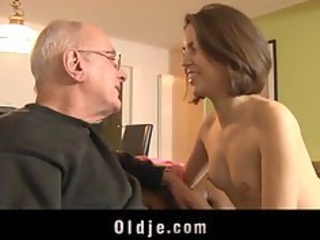 juvenile horny gal gets laid with an oldje