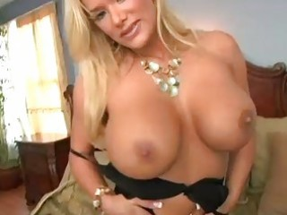 enormous chested blonde momma in black underware